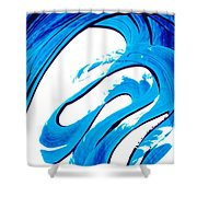 Pure Water 315 - Blue Abstract Art By Sharon Cummings Shower Curtain