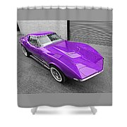 Purple 1968 Corvette C3 From Above Shower Curtain