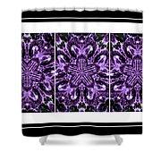 Purple Abstract Flower Garden - Kaleidoscope - Triptych Shower Curtain