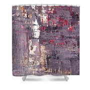 Vineyard - Purple And Beige Abstract Art Painting Shower Curtain