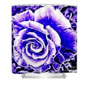 Purple And Blue Rose Expressive Brushstrokes Shower Curtain