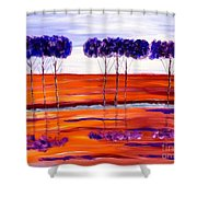 Purple And Blue Trees Abstract Shower Curtain