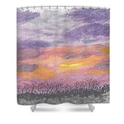Purple And Gold November Sunset In West Michiganwatercolor Shower Curtain