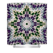Purple And Green Patchwork Art Shower Curtain