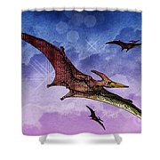 Purple And Green Ptreodactyls Soaring In The Sky Shower Curtain