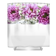 purple and mauve Flower frame on white  Shower Curtain
