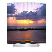 Purple And Pink Sunset Caribbean Dream Shower Curtain