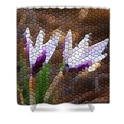 Purple And White Crocus Shower Curtain