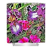 Purple And White Irises And Pink Flowers Shower Curtain