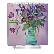 Purple Belle Bouquet  Tulips And Irises Shower Curtain