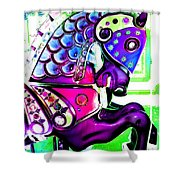 Purple Carousel Horse Shower Curtain
