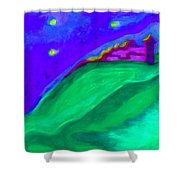 Purple Castle By Jrr Shower Curtain