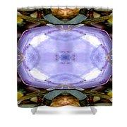 Purple Clam Shell Mandala Yantra Shower Curtain by Marie Jamieson