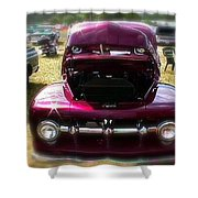 Purple Color Pickup Truck Shower Curtain