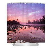 Purple Dawn Shower Curtain by Davorin Mance