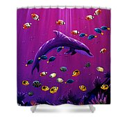 Purple Dolpins Shower Curtain