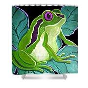 Purple Eyed Frog Shower Curtain