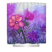 Purple Floral Fantasy Shower Curtain