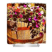 Purple Flowers In Rusty Bucket Shower Curtain