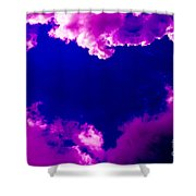 Purple Heart And Pink Clouds Shower Curtain