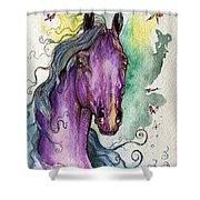 Purple Horse Shower Curtain by Angel  Tarantella