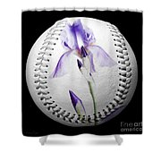 Purple Iris High Key Baseball Square Shower Curtain by Andee Design