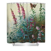 Purple Loosestrife And Watermind Shower Curtain