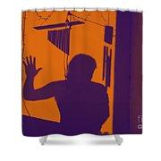 Purple Orange Figure Shadow Shower Curtain