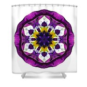 Purple Pansy II Flower Mandala White Shower Curtain