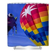 Purple People Eater Rides The Wind Shower Curtain