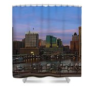 Purple Sky Above Downtown Baltimore Shower Curtain