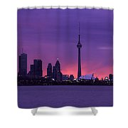 Purple Skyline Shower Curtain