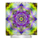 Purple Star Yantra Mandala Shower Curtain