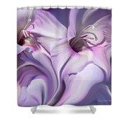 Purple Swirl Abstract Gladiolas  Shower Curtain by Jennie Marie Schell