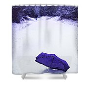 Purple Umbrella Shower Curtain by Amanda Elwell