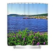Purple Vetch Overlooking Rocky Harbour-nl Shower Curtain