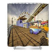 Pushing On The Pier Shower Curtain