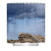 Cala Mesquida Stone Wall Against Rocks With A Stormy Sky Above - Putting Walls To Heaven Shower Curtain