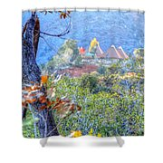 Pyramid Houses In Fall Watercolors Shower Curtain