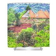 Pyramid Houses In Spring II Shower Curtain
