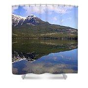 Pyramid Lake Mountain Reflections - Jasper, Alberta Shower Curtain