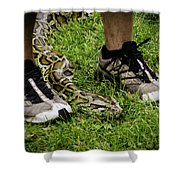 Python Snake In The Grass And Running Shoes Shower Curtain