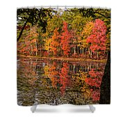 Quabbin Reservoir Fall Foliage Shower Curtain