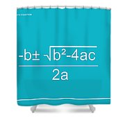 Quadratic Equation Aqua-white Shower Curtain