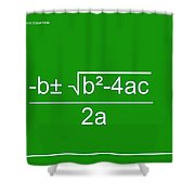 Quadratic Equation Green-white Shower Curtain