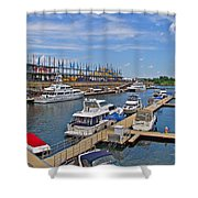 Quays Along Saint Lawrence River In Montreal-qc Shower Curtain