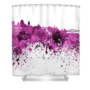 Quebec Skyline In Pink Watercolor On White Background Shower Curtain