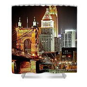 Queen City At Night Shower Curtain