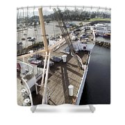 Queen Mary Ocean Liner Bow 03 Long Beach Ca Shower Curtain