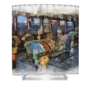 Queen Mary Ocean Liner Bridge 01 Photo Art 01 Shower Curtain